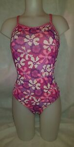 Gorgeous pink purple floral DOLPHIN UGLIES swimming costume Size 12 14 (TV)