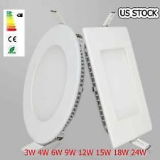 10x Ultra Slim Recessed Led Panel Light 3W 9W 12W 15W 18W 24W Flat Ceiling Down
