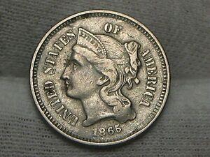 Civil War Era 1865 3¢ Three Cent Nickel.  #6