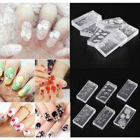 6pcs Silicone Durable 3D Acrylic Mold for Nail Art DIY Decoration Accessories JH
