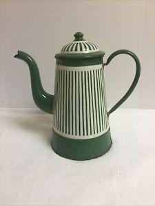 European Enamel Coffee/Tea Pot Green/White Vertical Stripes 2 Piece Graniteware