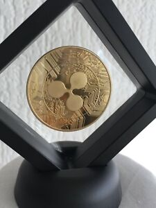 Ripple 24k Gold Plated Crypto currency Novelty Coin in 3D Floating Display stand