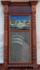 Federal Period Reverse Painted Decorative Antique Mirror - Carved Mahogany Frame