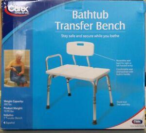 New ,CAREX Adjustable Bathtub Transfer Bench ,FGB15300 0000