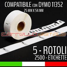 5 ROTOLI Etichette Compatibili con DYMO 11352 54 mm X 25 mm LABELWRITER 400 450