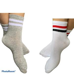 3X Low Cut Sports Ankle Cotton Trainer Liner Men Women Strips Socks Red Black