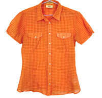 RM Williams Womens Orange Spotted Short Sleeve Button Up Blouse Size 10