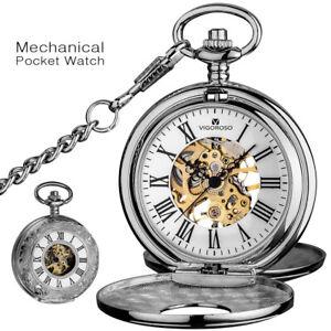 Luxury Silver Golden Double Hunter Skeleton Mechanical Pocket Watch Vintage Gift