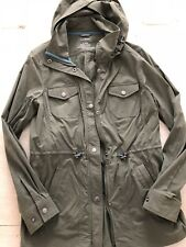Llbean Womens Rain Jacket Luna Jacket Trench Size Small Basil Olive Green