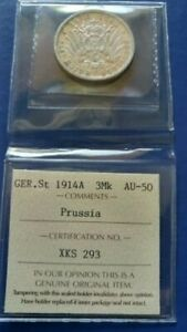 1914-A Germany Empire PRUSSIA 3 Mark Silver Coin Wilhelm II ICCS AU-50