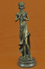 French Jean Patoue Female Flute Player 100% Solid Bronze Sculpture Statue Decor