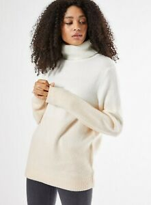 Dorothy Perkins Womens Ivory Colour Block Roll Neck Jumper Pullover Sweater