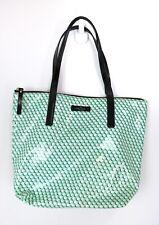 KATE SPADE Bon Shopper Aqua Black White Dots Cute Tote Bag Cotton Vinyl Purse