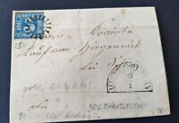 """Bayern Kreuzer-Brief 3 Kreuzer blau (2II3)/gMR """"306"""" Marktleuthen aus 1858"""