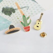 Guitar Hat Cactus Lovely Enamel Brooch Fashion Jewelry Jacket Coat Pin Badge