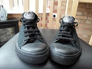 Dunlop Mens  Black Trainers Canvas & Faux Leather Lace Up UK 11/ Euro 46