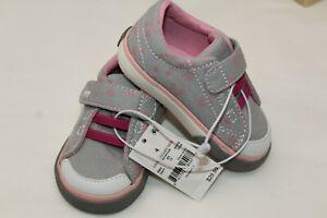 NWT See Kai Run Basics Gray & Pink Stars Toddler Girls Size 4 Sneakers Shoes