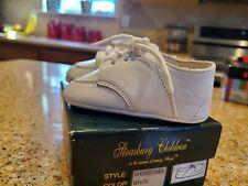 Strasburg Children's Baby Boy White SOFT Leather Baptism Shoes Size 1
