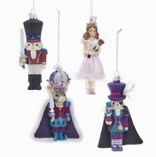 "Nutcracker Ballet Clara Mouse King Glass Ornament  5 "" Set 4 Kurt Adler"