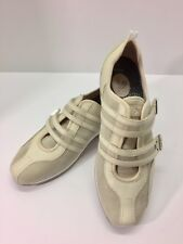 Aetrex Abbey Beige Pink Leather Suede Double Strap Walking Shoes 6 Sneakers