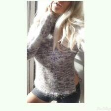 Purple confetti Mock Neck Mohair Fuzzy Sweater -M