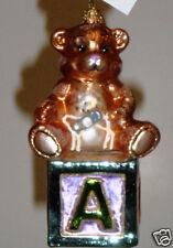 RADKO 1010687 B IS FOR BEAR- TEDDY BEAR ON BLOCK - RETIRED ORNAMENT
