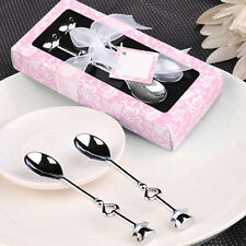 GOOD Pair Silver Stainless Steel Coffee Tea Spoons Heart Shaped Party Favor Gift