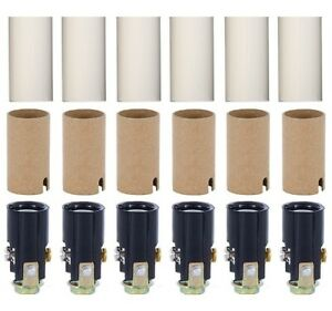 """Candelabra Socket Kit with 1 3/4"""" White Candle Covers, Set of 6"""
