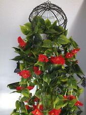Blumenranke Blumengirlande Kunstblumen künstliche Blumen rote Blüten 230cm Efeu