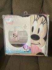 Disney Minnie Mouse Hearts Dots 3 Piece Crib Bedding Set New Pink White