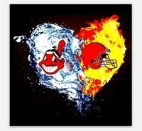 Cleveland Browns and Indians MAGNET - Cavs Chief Wahoo Fire ICE CLE OHIO