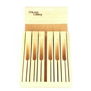 """Chicago Cutlery Knife Tray 13 Slot In Drawer Block 9""""x16"""" Wood Storage Thailand"""