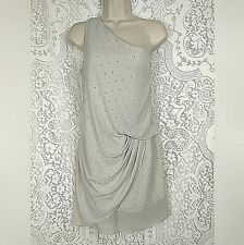 Express Womens Cocktail Dress Size 4 Gray Silver Gem One Shoulder Ruched Chiffon