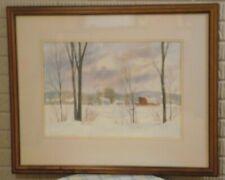 Grant Dolge Watercolor Winter Farm Landscape 1980 Signed Framed