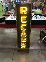Recaps Neon Sign, Not Porcelain, Gas And Oil, Chevrolet And Ford