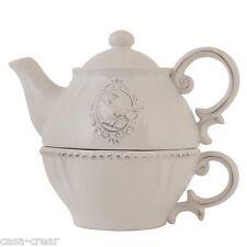 Clayre&Eef Teekanne mit Tasse TEA FOR ONE Tasse SHABBY CHIC Weiss NEU