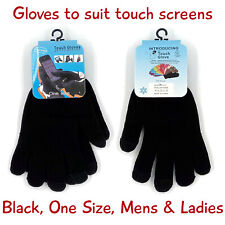 Black knit touchscreen gloves 1 pr, mens & ladies, one size fits most, free post