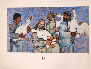 William Forrest Martin Hand Signed Giclee Art on Canvas of Domestics 1992