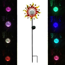 Solar Powered Metal Sunray Garden Stake with Color Changing Led Light Glass Ball