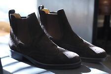 Bally Cipron Chocolate Suede Brogue Boots Swiss Dainite Discontinued Size 9.5 D