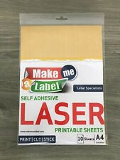 10 A4 Premium BRUSHED GOLD Self Adhesive LASER Printable Film Sticker Sheets