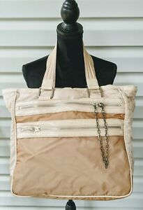 Stella McCartney LESPORTSAC Ex-Large Nylon Travel Shoulder Hobo Bag Beige Pink