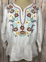 David Brooks Women's M Top Boho Peplum Floral Embroidered Smocked Linen Cotton