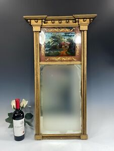 Antique Federal split column reverse painted mirror House On Water Gold Gilt