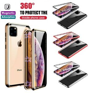 For iPhone 11 12 Pro Max 360° Full Cover Magnetic Absorption Glass Metal Case