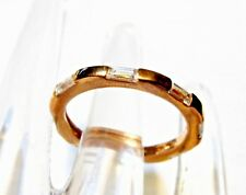 White Topaz Baguette Eternity Ring, 18K Rose Gold/ 925 Silver, Size 7, 0.55(TCW)
