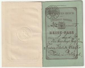 ALTER REISE-PASS-KÖNIGREICH PREUSSEN-DEUTSCHES REICH---BERLIN-1893