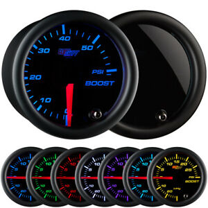 GlowShift 52mm Tinted Diesel Truck Boost 60 PSI Gauge w. 7 LED Colors