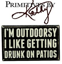 """Primatives By Kathy Rustic Wooden Box Sign - Outdoorsy 6""""x4"""" Den Home Gifts Bar"""