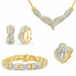 1.00 CT TDW, Cross Over Row 4 Piece Pendant Necklace, Earrings, Bracelet & Ring